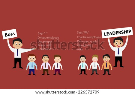 Vector of Boss and Leadership for Business Teamwork Concept - stock vector