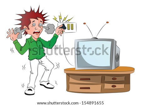 Vector of boy receiving an electric shock while touching television switch after short circuit. - stock vector