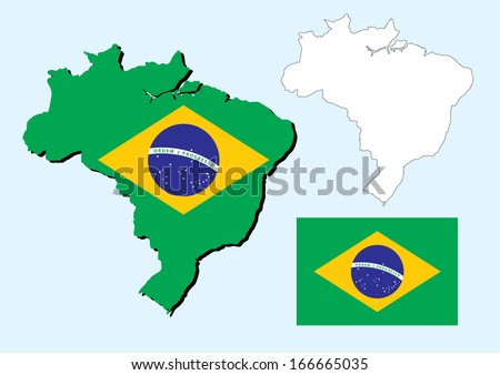 vector of brazil map with flag inside - stock vector