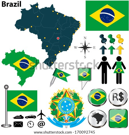 Vector of Brazil set with detailed country shape with region borders, flags and icons - stock vector