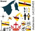 Vector of Brunei set with detailed country shape with region borders, flags and icons - stock photo