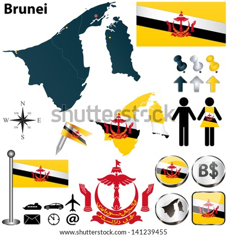 Vector of Brunei set with detailed country shape with region borders, flags and icons - stock vector