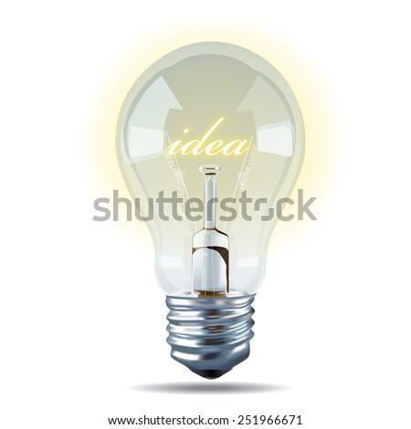 Vector of Bulb light idea on white background. - stock vector
