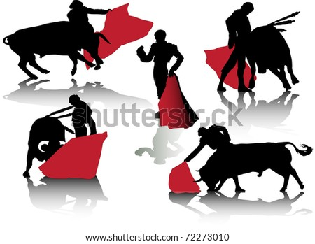 vector of bulls and bullfighters with red cape - stock vector