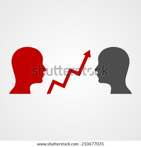 Vector of business humans with chart arrows. - stock vector