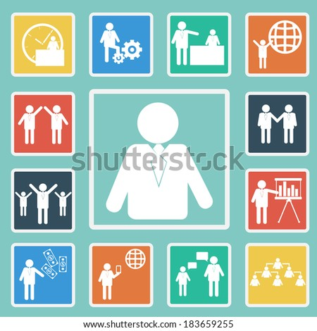Vector of Business icon set Illustration.