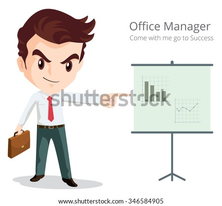 Vector of Business man character look so smart pointing graph go to success. cartoon character.Businessman isolated.