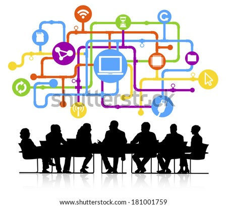 Vector of Business Meeting and Computer Network - stock vector