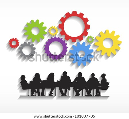 Vector of Business Meeting and Teamwork - stock vector