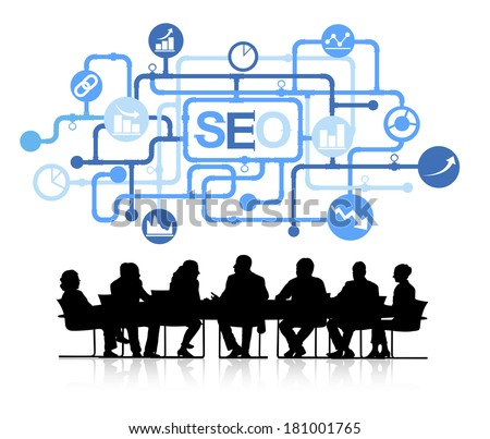 Vector of Business Meeting with SEO Network - stock vector