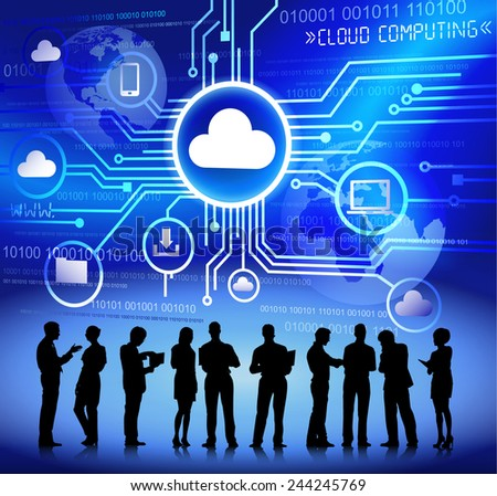 Vector of Business People Discussing about Cloud Computing - stock vector