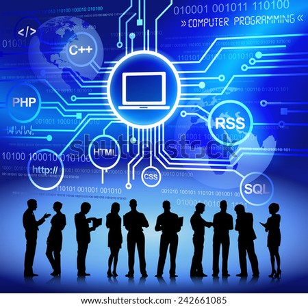 Vector of Business People Discussing about Computer Programming - stock vector