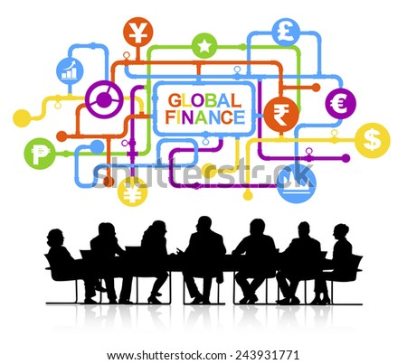 Vector of Business People Discussing Global Finance - stock vector