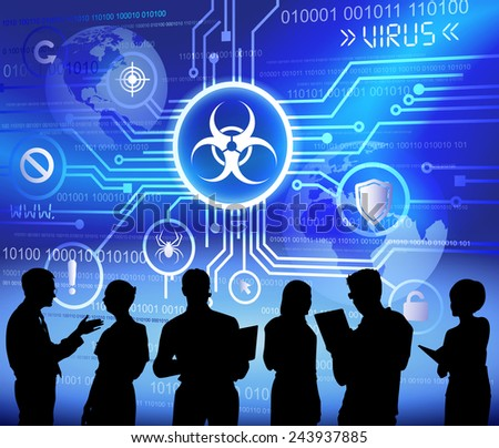 Vector of Business People Discussing Malware - stock vector