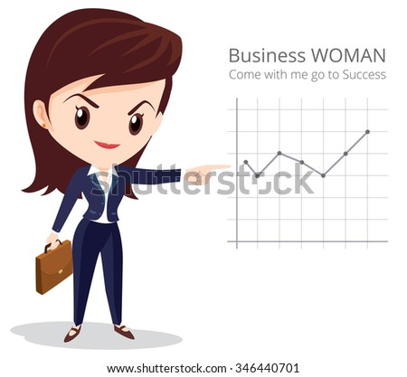 Vector of Business woman character look so smart pointing graph go to success - stock vector