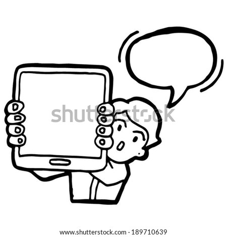 vector of businessman and tablet