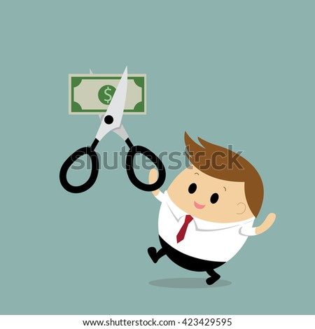 Vector of Businessman cut the dollar or money bill in half with scissors. Business concept cartoon - stock vector