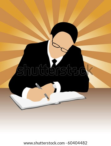 Vector of  businessman with pen eyeglasses, suit and tie signing contract on grunge background of colorful sun-rays - stock vector