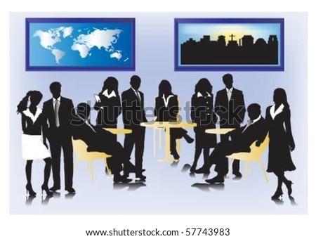 Vector of businesspeople meeting. - stock vector