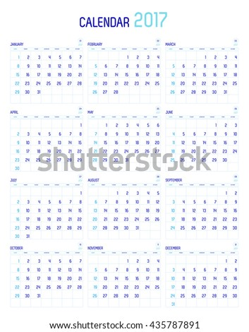 Vector of Calendar 2017 year ,12 month calendar with simple basic style,week start at Sunday - stock vector