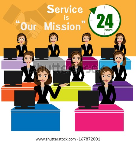 Vector of Call Center for best service concept - stock vector