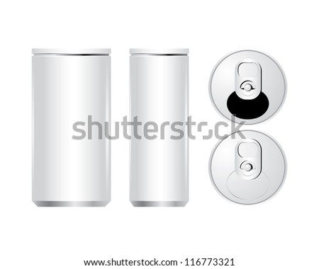 Vector of cans with the ring pull. isolated on white - stock vector