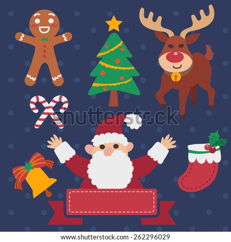 Vector of cartoon christmas set with Santa Claus, Rudolph, gingerbread, candy cane, and ribbon title banner in eps 10. - stock vector