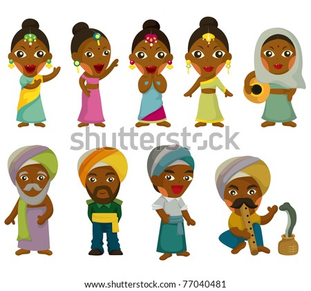 Vector of cartoon Indian icon set - stock vector