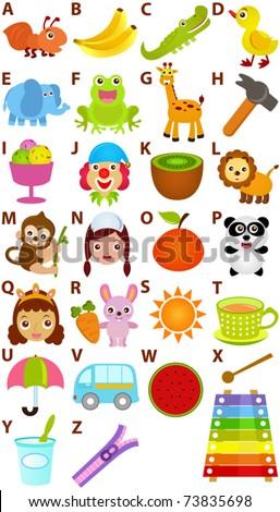 Vector cartoons alphabet z simple dictionary stock vector 2018 vector of cartoons alphabet a to z simple dictionary for kids a set of altavistaventures Gallery