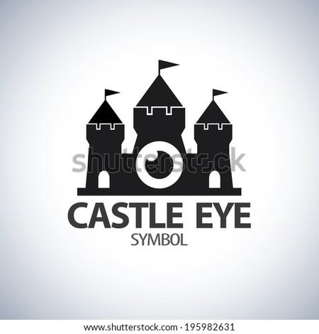 Vector of castle eye symbol icon. Protection concept, Logo template design - stock vector