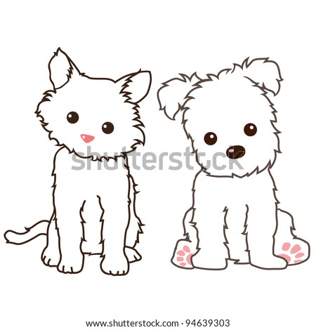 Vector of cat and dog lineart - stock vector