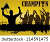 Vector of champion with trophy and people cheering - stock photo