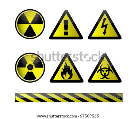 Vector of chemical hazard symbols on white - stock vector