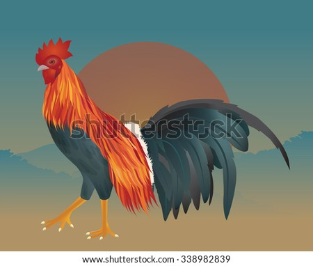 vector of chicken on the morning - stock vector