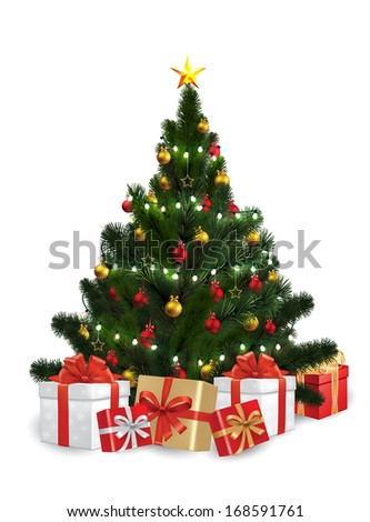 Vector of Christmas Tree with String Lights - stock vector