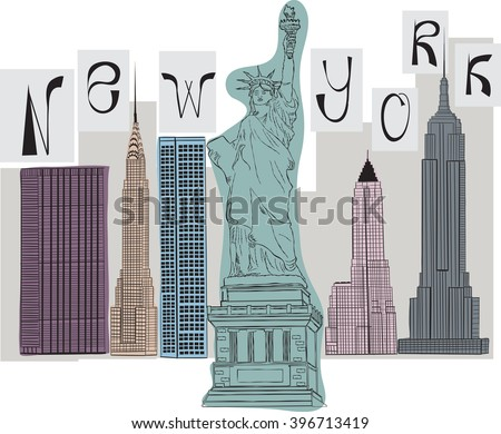 vector of collage New York. EPS10 - stock vector