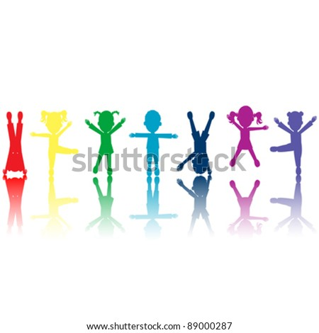 vector of colored kids silhouettes over white background - stock vector