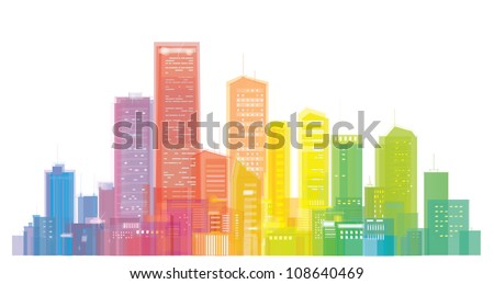 Vector of colorful city skyline - stock vector