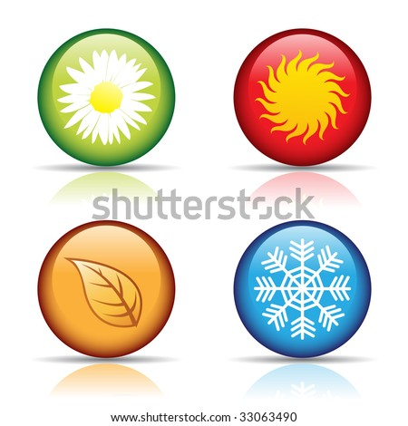 vector of colorful four seasons icons isolated on white - stock vector