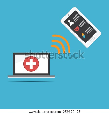 Vector of computer medical record .new technology for health care link to smartphone - stock vector