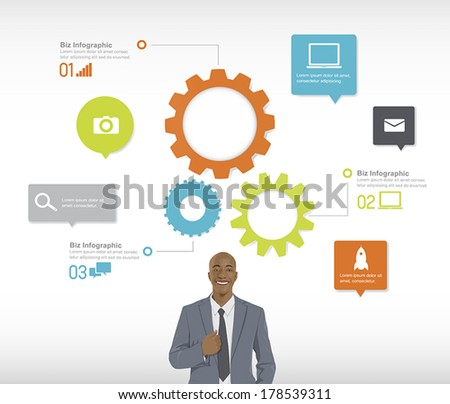 Vector of Confident Businessman with Infographic - stock vector