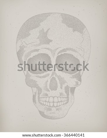 Vector of cool vintage human skull on the old paper texture background with halftone effect to the Day of The Dead. Poster, card. Contour. Vector Illustration
