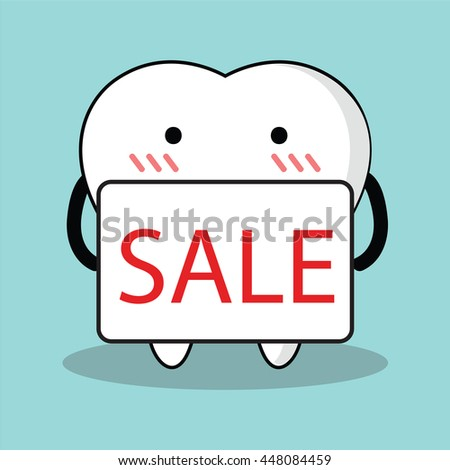 Vector of Cute cartoon tooth holding SALE sign for advertise - stock vector