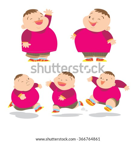 vector of cute fat boy cartoon character many action - Cartoon Picture Of Child