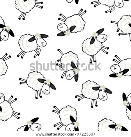vector of cute sheep over white background - stock vector