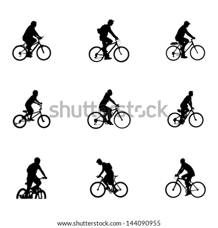 Vector of cyclists. silhouette on white background