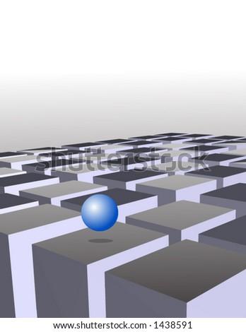 Vector of 3D futuristic scene - stock vector