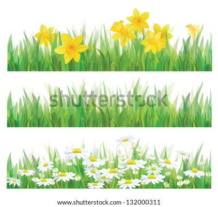 Vector of daffodil flowers, grass and chamomiles isolated for spring and Easter design. - stock vector