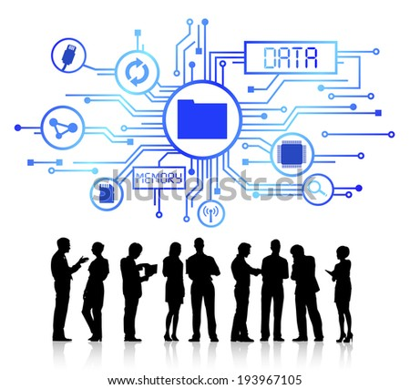 Vector of data and memory themed background and silhouettes of business people talking. - stock vector
