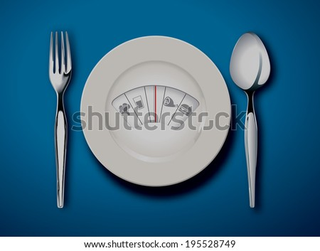 Vector of Diet menu. White plate with weight scale  - stock vector